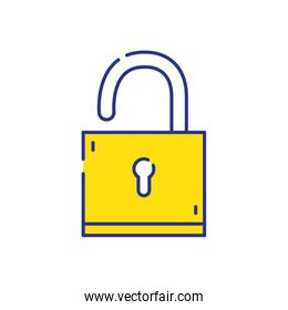 full color padlock object to protection and security symbol