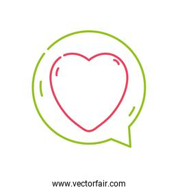 color line heart sign of love inside chat bubble
