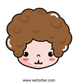 boy head with curly hair and tender face