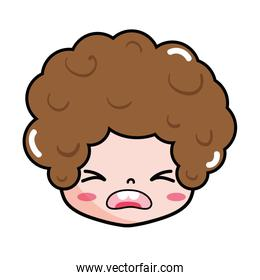 boy head with curly hair and pity face