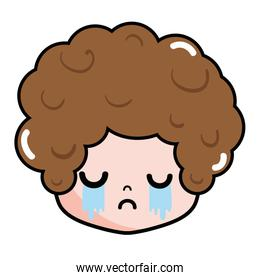 boy head with curly hair and crying face