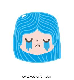 full color girl head with hairstyle and crying face