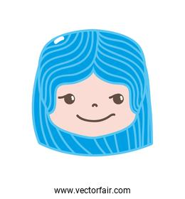 full color girl head with hairstyle and rogue face