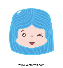 full color girl head with hairstyle and funny face