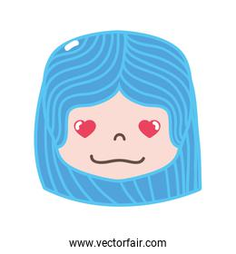 full color girl head with hairstyle and in love face
