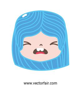 full color girl head with hairstyle and pity face