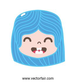full color girl head with hairstyle and smile face