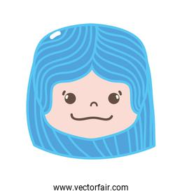 full color girl head with hairstyle and happy face