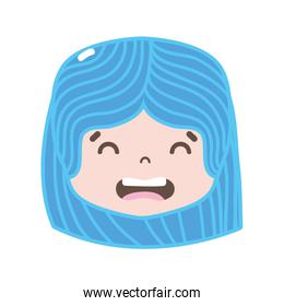 full color girl head with hairstyle and disgusted face