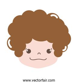 full color boy head with curly hair and happy face