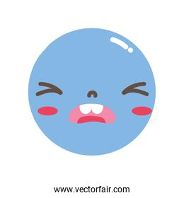 full color kawaii head with cute pity face