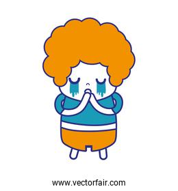 colorful boy with curly hair and crying face