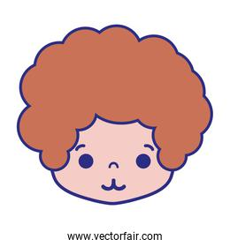 colorful boy head with curly hair and tender face