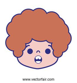 colorful boy head with curly hair and surprised face