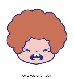 colorful boy head with curly hair and pity face