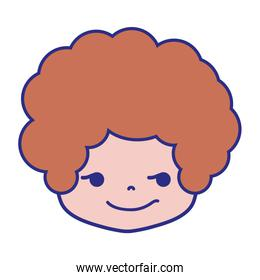 colorful boy head with curly hair and rogue face