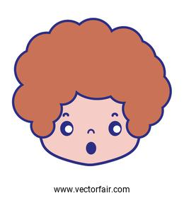 colorful boy head with curly hair and scared face