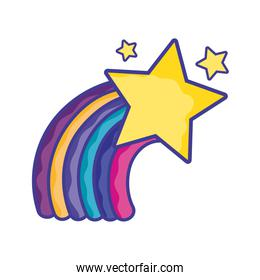 bright rainbow in the sky with stars design