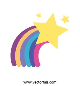 colorful bright rainbow in the sky with stars design