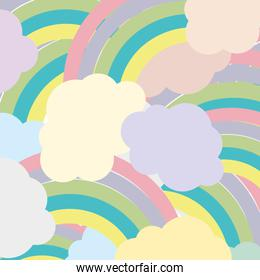 colorful nature clouds rainbow in the sky background