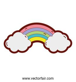 line color bright rainbow in the sky with clouds design