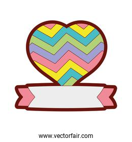 line color heart symbol of love with ribbon design
