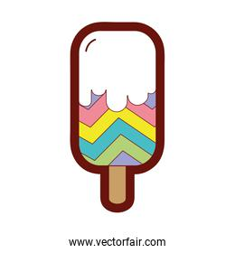 line color sweet ice lolly with rainbow design