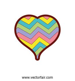 line color heart to love symbol with rainbow design