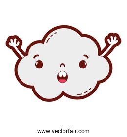 line color surprised and cute cloud kawaii weather with arms