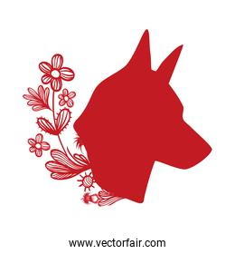 dog head with rustic flowers and leaves