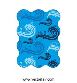 blue label spiral in wave shape pattern