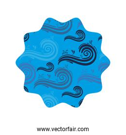 star shape with nature blue waves background