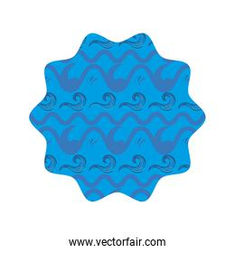 star shape with blue pattern background