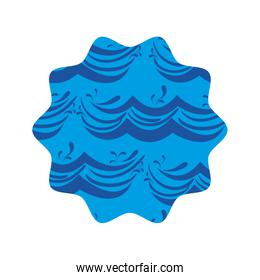 star shape with blue nature waves background