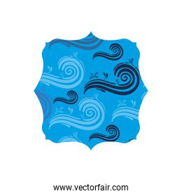 quadrate shape with nature blue waves background
