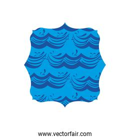 quadrate shape with blue nature waves background