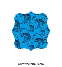 quadrate shape with blue waves blackground