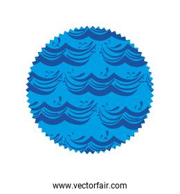 circle shape with blue nature waves background