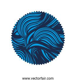 circle with nature waves shapes background