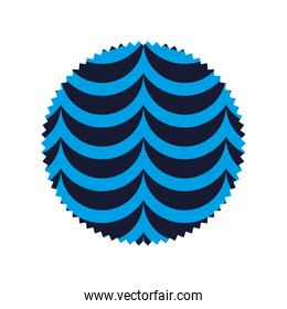 circle with nature pattern waves background