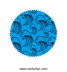 circle shape with waves curve background