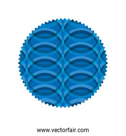 circle shape with blue waves blackground