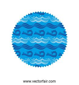 circle shape with waves pattern background