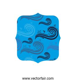 square shape with nature blue waves background
