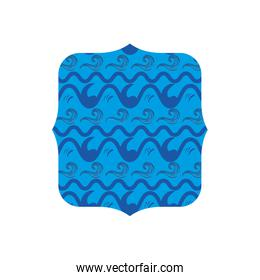 square shape with blue pattern background