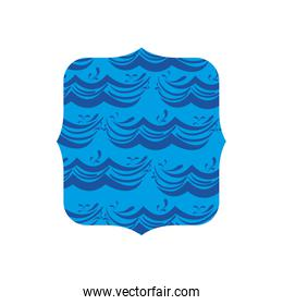 square shape with blue nature waves background