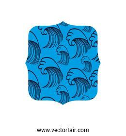square shape with waves curve background