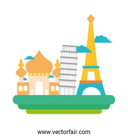 colorful taj mahal and leaning tower of pisa with eiffel tower vacation