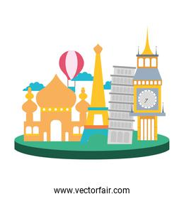 colorful travel adventure site of vacation journey