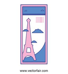 full color eiffel tower of paris ticket vacation